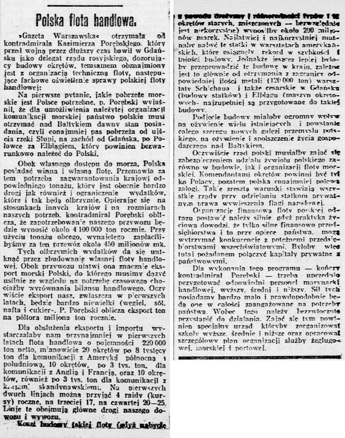 Polska flota handlowa // Kurjer Poznański.- 1919, nr 61, s. 3