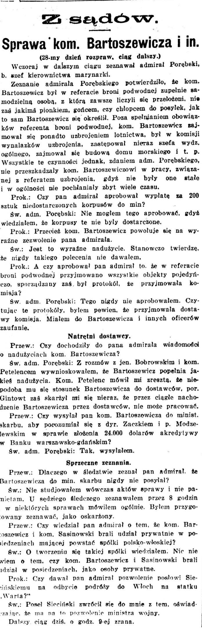 Sprawa kom. Bartoszewicza i in. // Kurjer Warszawski. - 1926, nr 315, s. [brak danych]