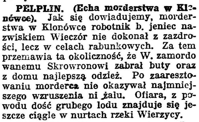 Echa morderstwa w Klonówce // Gazeta Bydgoska. - 1924, nr 31, s. 5