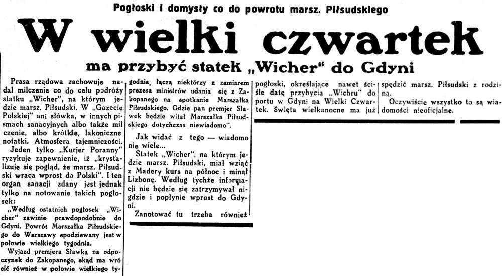 """W wielki czwartek ma przybyć statek """"Wicher"""" do Gdyni. Pogłoski i domysły co do powrotu marsz. Piłsudskiego // ABC. - 1931, nr 93, s. 1"""