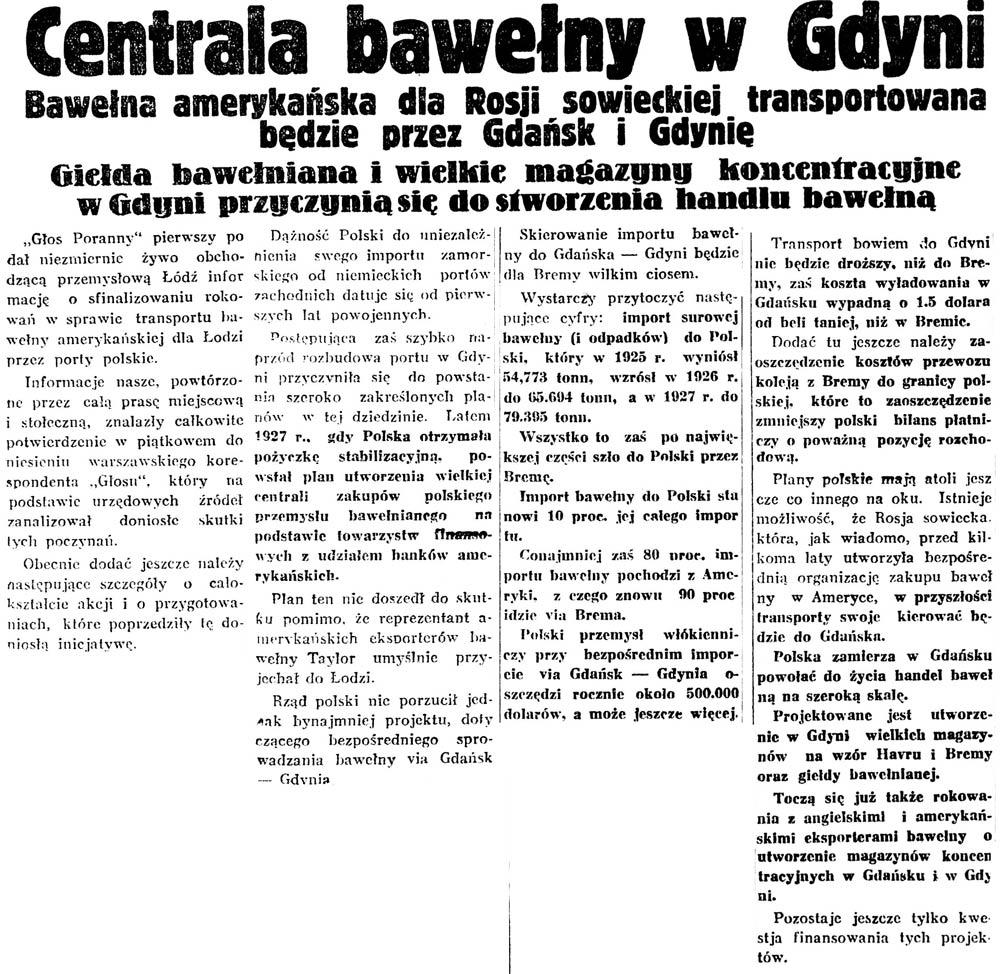 Centrala bawełny w Gdyni. Bawełna amerykańska dla Rosji sowieckiej transportowana będzie przez Gdańsk i Gdynię // Głos Poranny. - 1929, nr 71, s. 5