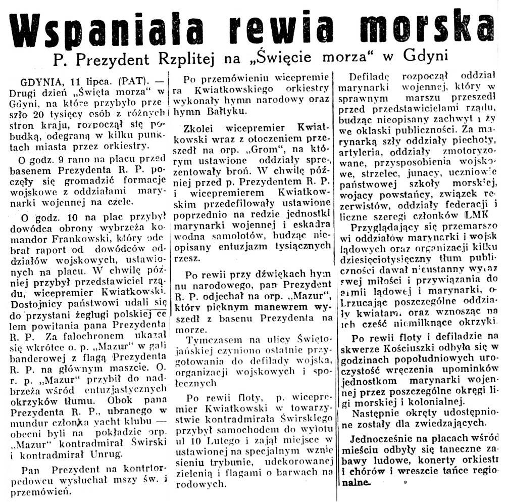 """Wspaniała rewia morska. P. Prezydent Rzplitej na """"Święcie Morza"""" w Gdyni // Głos Poranny. - 1932, nr 189, s. 5"""