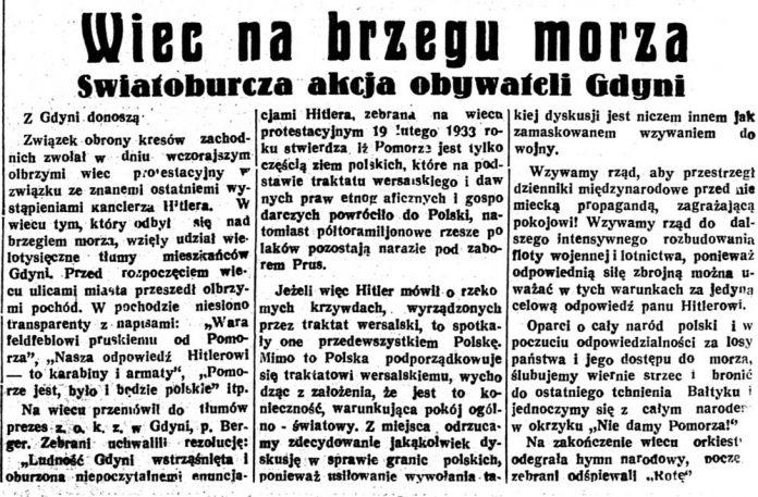 Wiec na brzegu morza. Światoburcza akcja obywateli Gdyni // Głos Poranny. - 1933, nr 51, s. 1