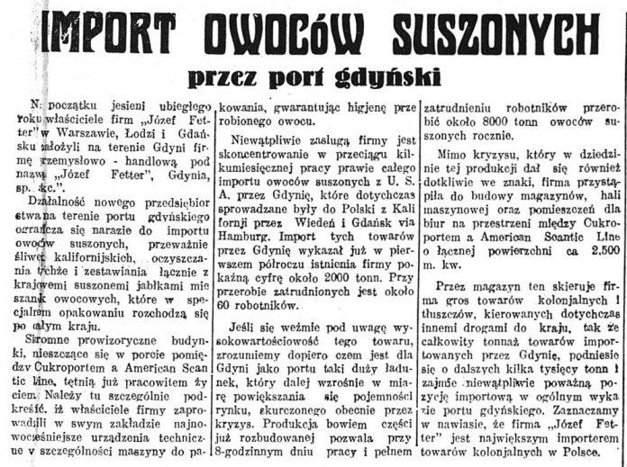 Import owoców suszonych przez port gdyński // G los Poranny. - 1932, nr 89, s. 9