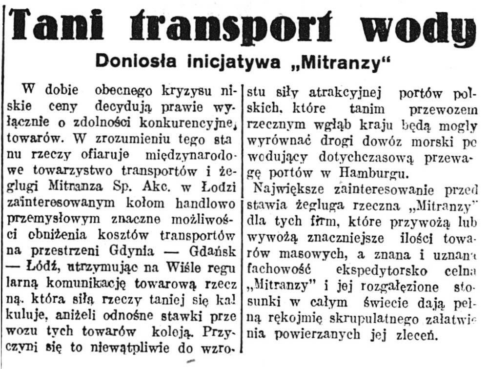 """Tani transport wodny. Doniosła inicjatywa """"Mitranzy"""" // Głos Poranny. - 1932, nr 89, s. 9"""