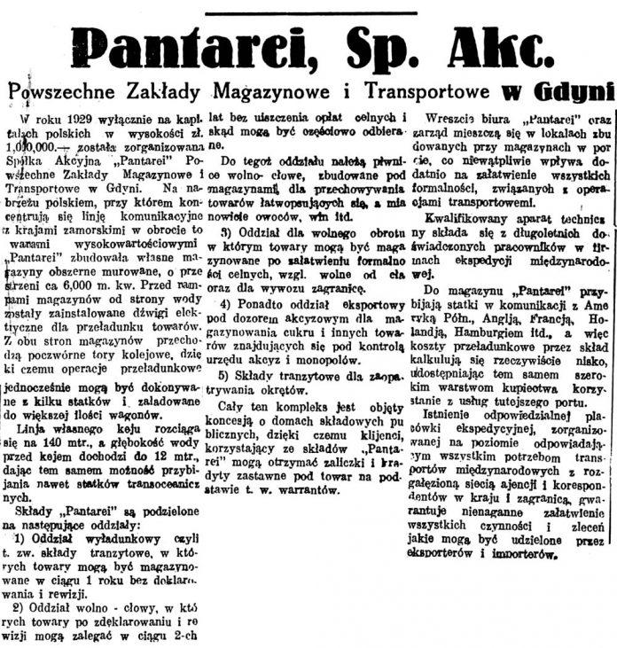 Pantarei, Sp. Akc. Powszechne Zakłady Magazynowe i Transportowe w Gdyni // Głos Poranny. - 1932, nr 89, s. 9