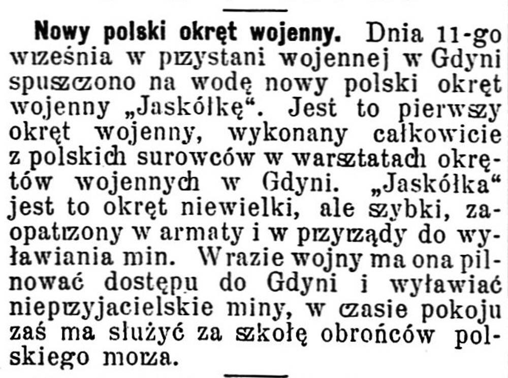 [ORP JASKÓŁKA] Nowy polski okręt wojenny // Gazeta Świąteczna. - 1934, nr 2799, s. 3