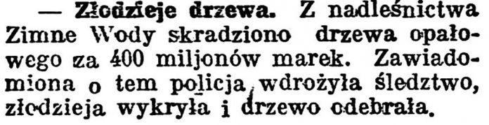 Złodzieje drzewa // Gazeta Pomorska. - 1924, nr 31, s. 5
