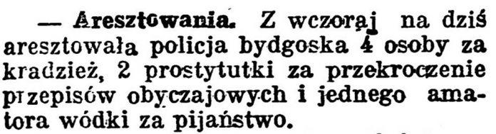 Aresztowania // Gazeta Pomorska. - 1924, nr 31, s. 5