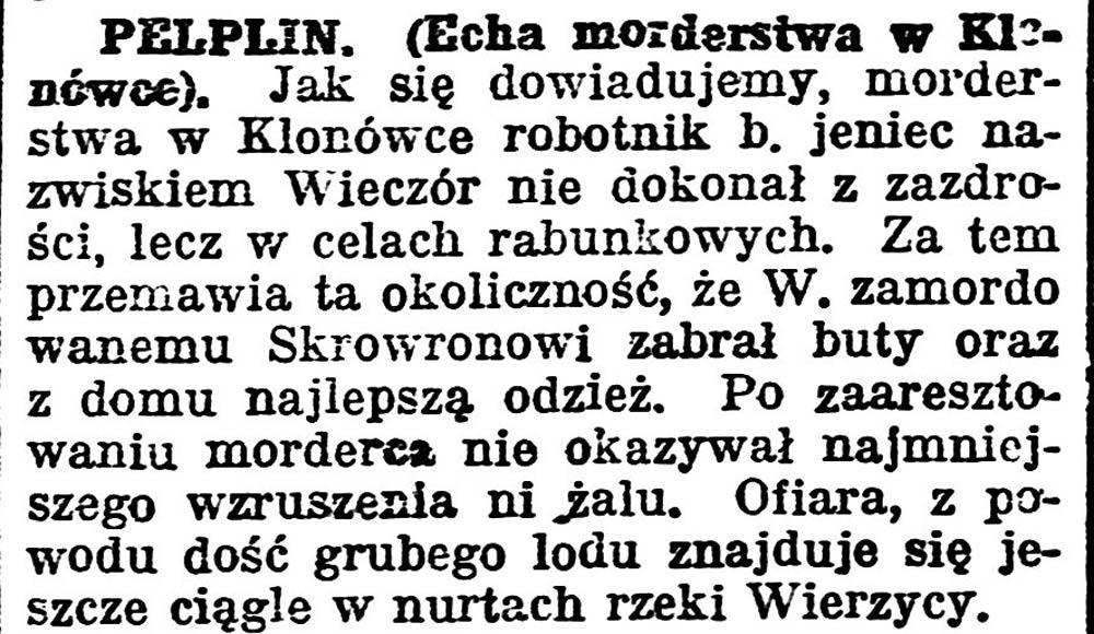 Echa morderstwa w Klonówce // Gazeta Pomorska. - 1931, nr 31, s. 5