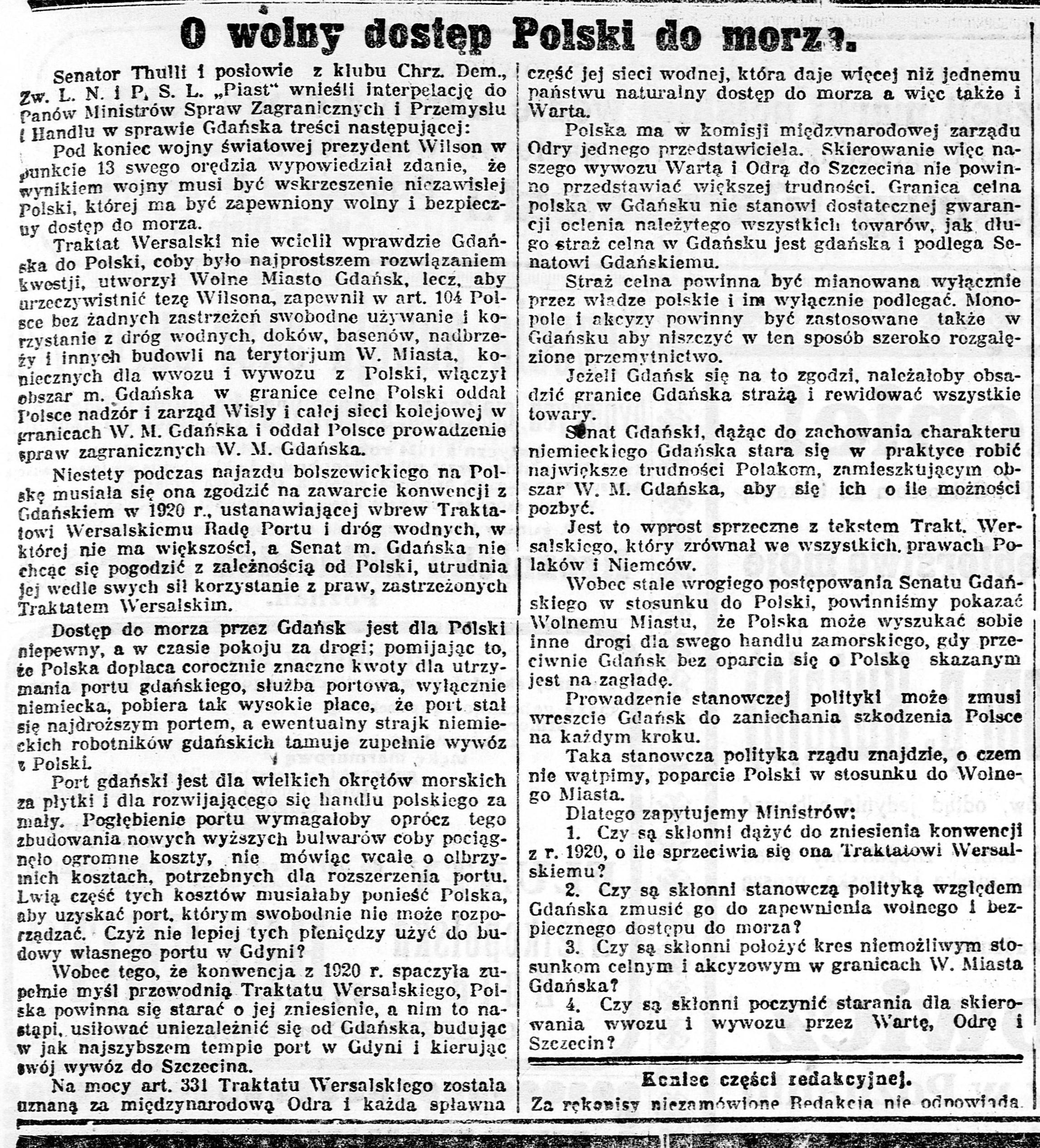 Historia Polski. Początki polskiej gopodarki morskie w okresie międzywojennym (lata 1918-1939)