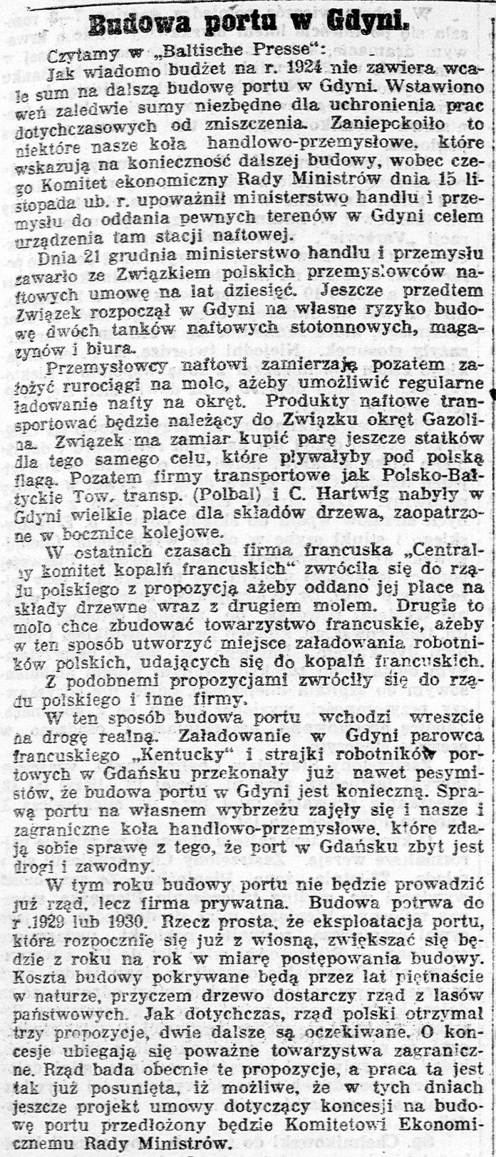 Budowa portu w Gdyni // Kurjer Poznański. - 1924, nr 24, s. 9