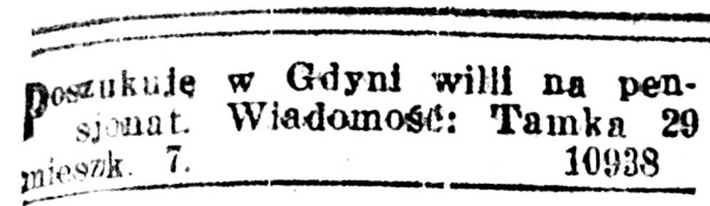 Poszukuję w Gdyni Willi na pensjonat // Kurjer Warszawski. - 1918, nr 39, s. 21