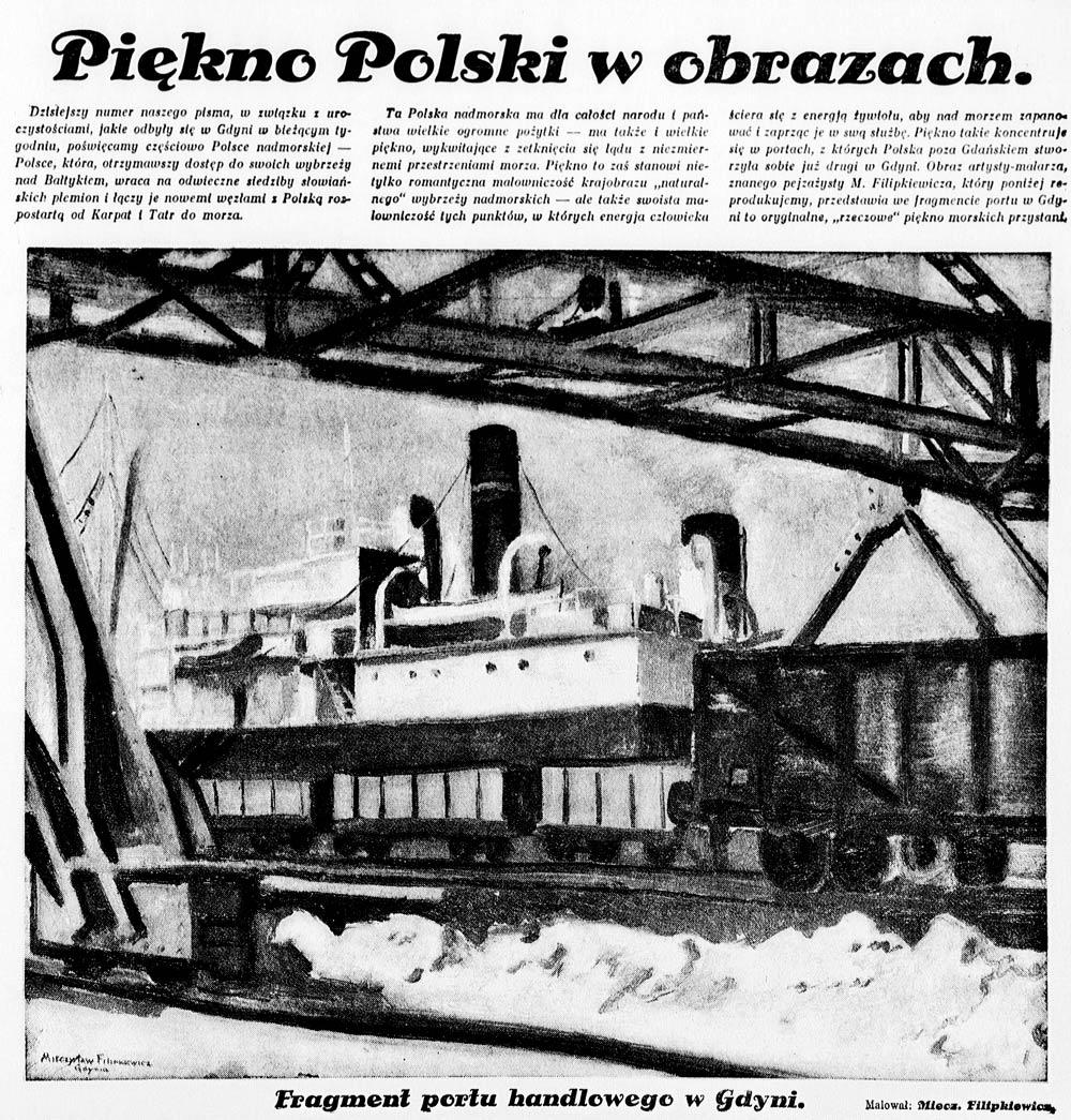 Piękno Polski w obrazach [fragment gdyńskiego portu] // Na szerokim świecie. = [b.d.], nr 9, s. [1]. - Il.